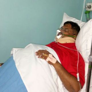 Injured Dr Swarup 'Kiprrop' Mishra in hospital. He later won the Jubilee Kesses parliamentary nomination, in Uasin Gishu County. Photo Courtesy