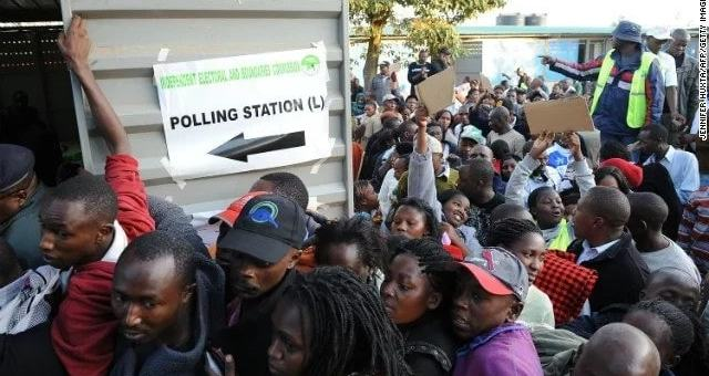 Voters crowded at a polling station to cast their vote.PictureCourtesy