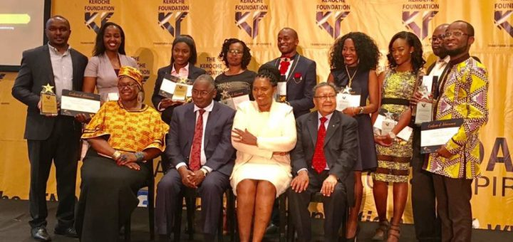 Entrepreneurs who graduated during the second graduation of  Keroche Foundation posing for a a photo with their mentors.Picture:Courtesy