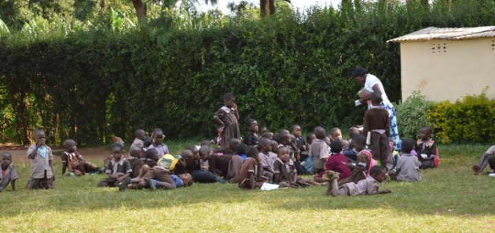 Pupils at a primary school in Bungoma County being taught by their teacher.Picture:Odhiambo Orlale
