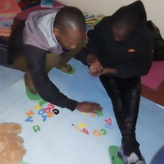 A teacher engaging an autistic child in games.Picture:Courtesy