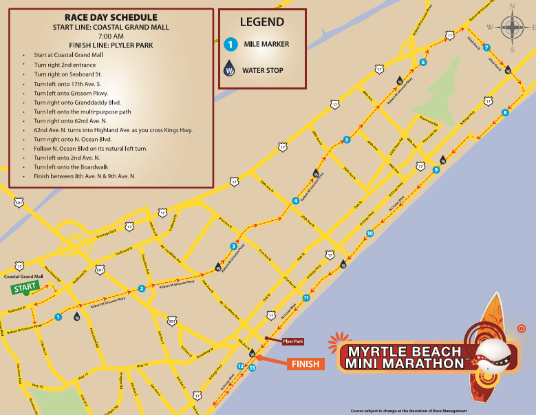 Myrtle Beach Mini Marathon Course Map