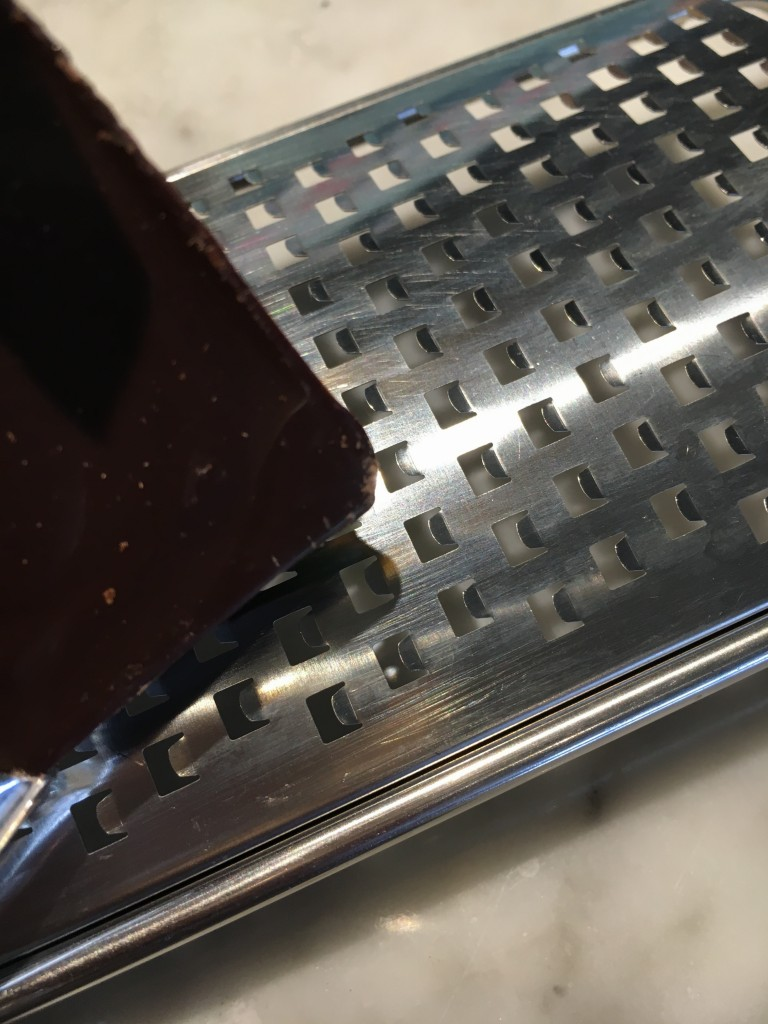 Use a microplane for the finest, grated chocolate!