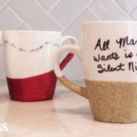 DIY Glitter & Quote Mugs