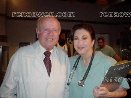 Dick Van Patten & Rochelle Balin on the set of Freezerburn