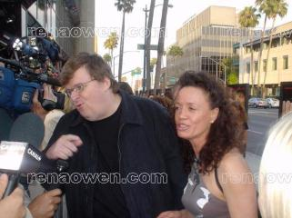 Rena with director Michael Moore