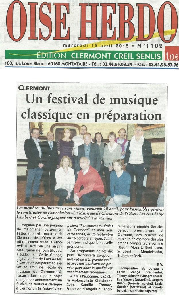 Oise Hebdo - 20150415 - Un festival de musique classique en préparation