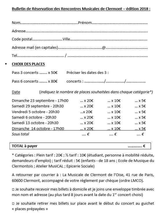 bulletin réservation 2018