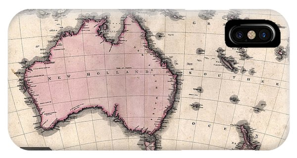 Australasia Pinkerton Map 1818 Photograph by Compass Rose Maps Australasia Pinkerton Map 1818 Phone Case by Compass Rose Maps