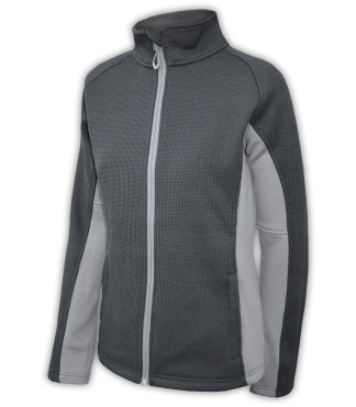 Renegade-club-womens-full-zip-fleece-jacket-coarse-weave-power stretch-black-gray-fitted-ski-jacket