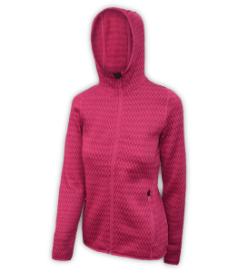 Renegade-club-womens-full-zip-fleece-jacket-north shore-checkered-fuchsia-pink-fitted-outdoor-jacket-soft-hood