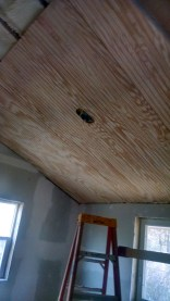 Putting up bead board ceilings in a 100 year old farm house DIY.