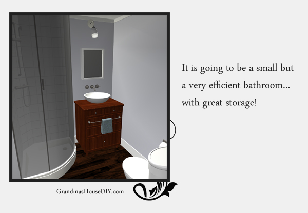Remodeling and adding a bathroom to an old basement. 3d image. GrandmasHousediy.com