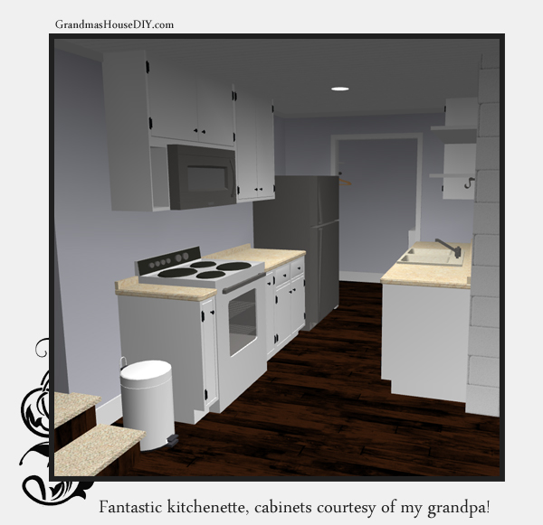 Remodeling and adding a kitchen to an old basement. 3d image. GrandmasHousediy.com