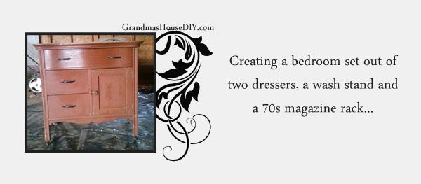Creating a cohesive bedroom set out of mismatched furniture. Grandmashousediy.com
