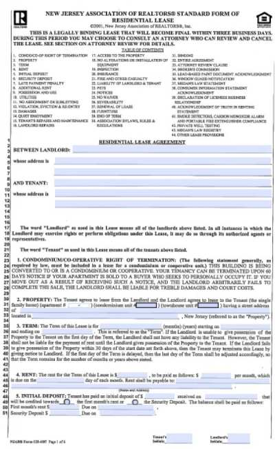 Free New Jersey Standard Residential Lease Agreement (1 Year) | PDF | Word (.doc)