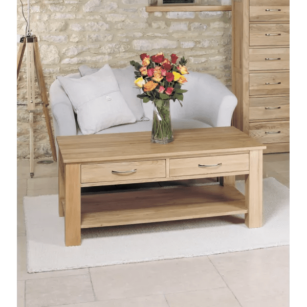 mobel oak four drawer coffee table solid narrow