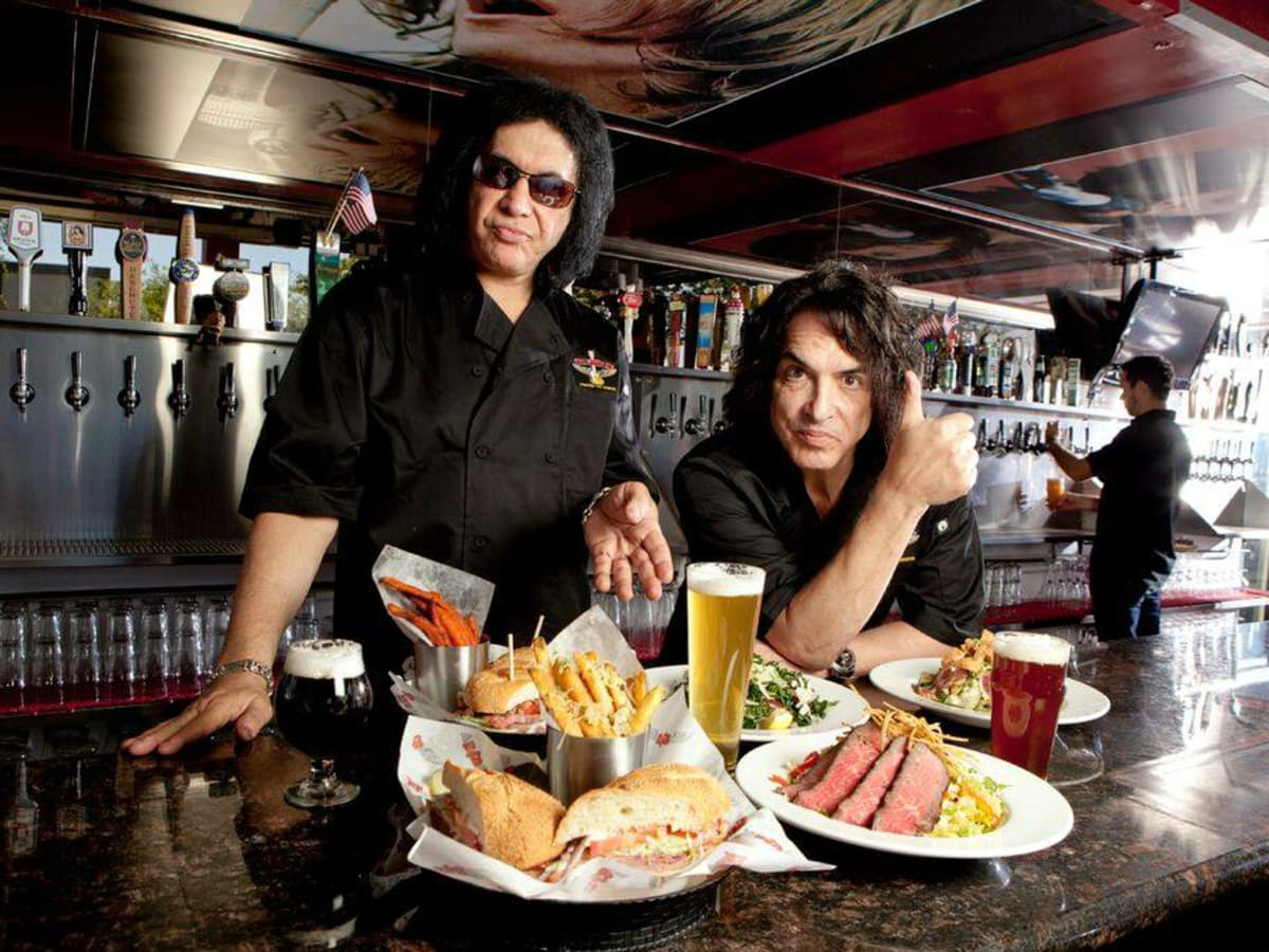 KISS band members shake up Texas with rock  n  roll restaurants     Rock   Brews restaurant Gene Simmons Paul Stanley KISS band