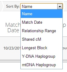 The FTDNA Family Finder Matches page Sort by filter