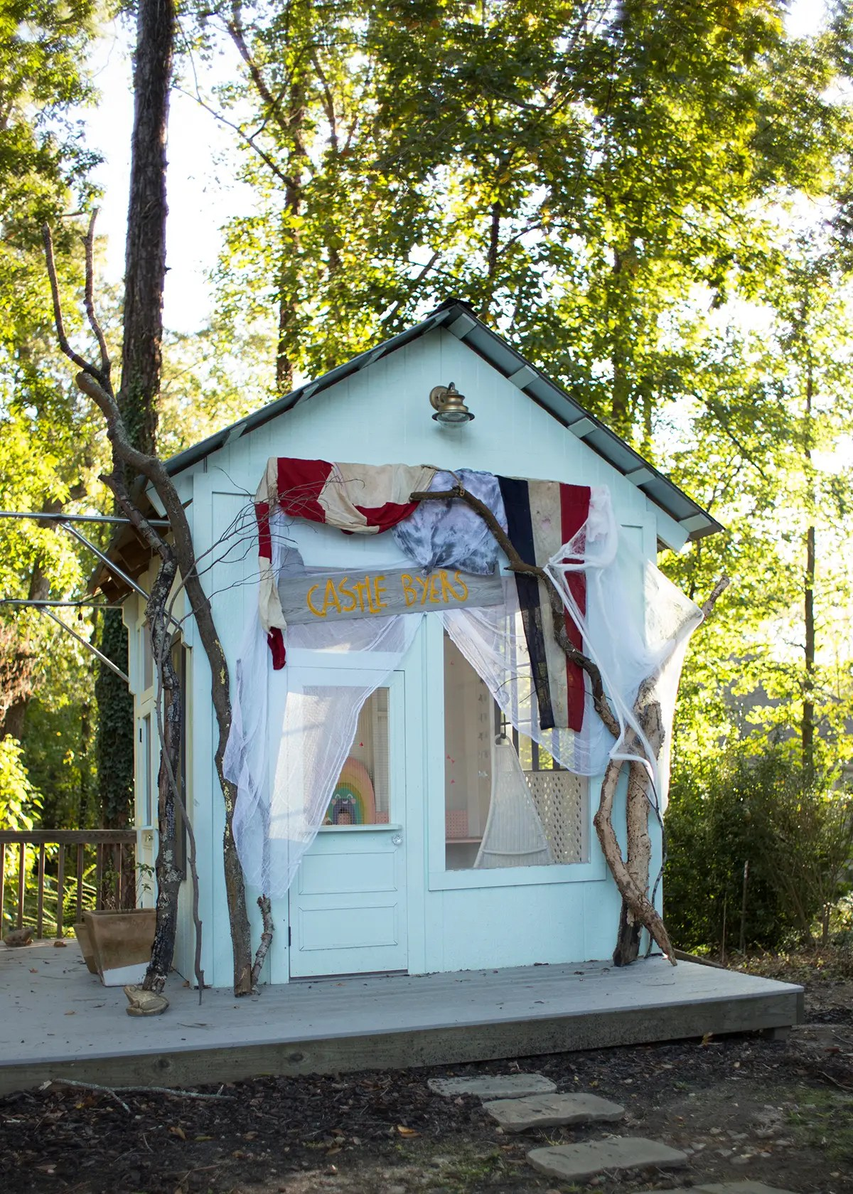 Stylized Stranger Things Party Decor Ideas How To Throw A Stranger Things Viewing Party Lay Baby Lay Backyard Party Shed Plans Backyard Party Shelter outdoor Backyard Party Shed