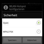 Hier kann man zwischen einem offenen und einem WPA2 PSK gesichertem Hotspot auswählen.