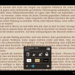 Text Einstellungen und Navigationsmenu