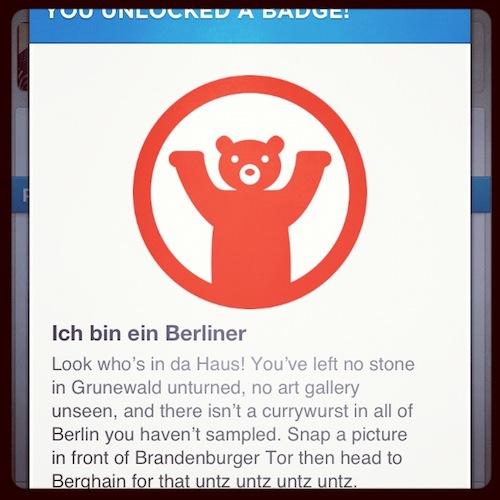 Заработал бедж в фосквере, Берлин, 2012