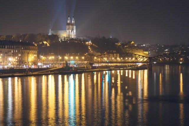 Прага, Ночной вид на Влтаву и Вышеград