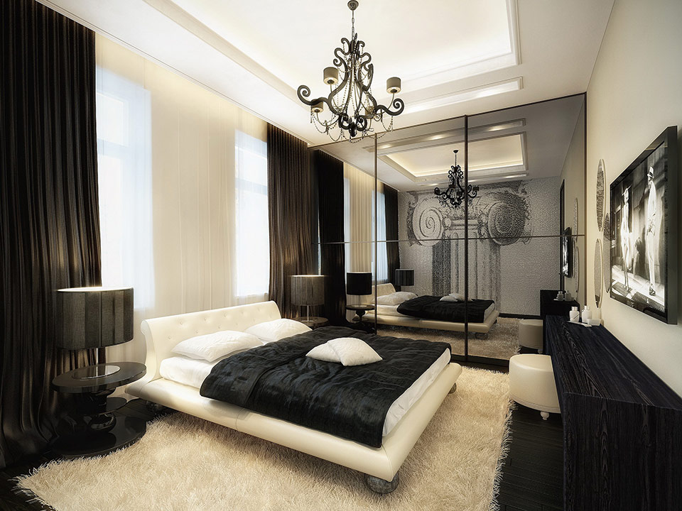 luxurious black and white bedroom bed furniture