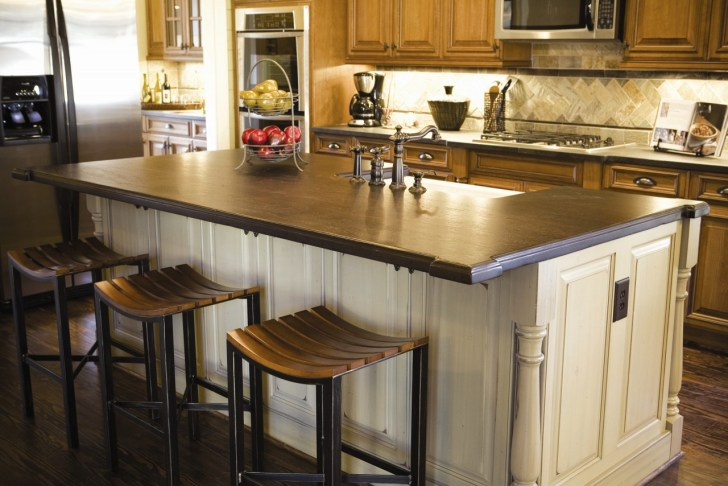 kitchen decoration dark wood countertops with white wood kitchen island base e1436767927678