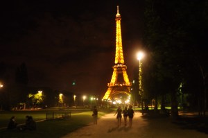 My absolute favorite picture of any picture I've ever taken -- the Eiffel Tower on our down the Champs des Mares our first night in Paris. Someday this will be the cover of a book I write.