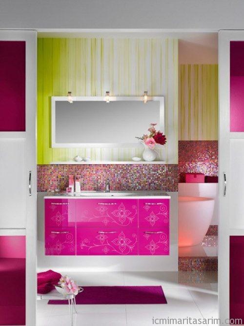 Parlak Ve Renkli Banyo Tasarım Fikirleri (40)