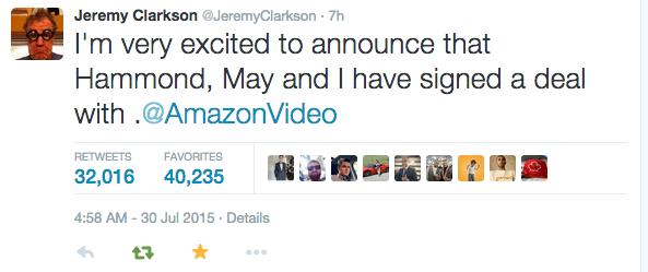 Clarkson Twiter amazon
