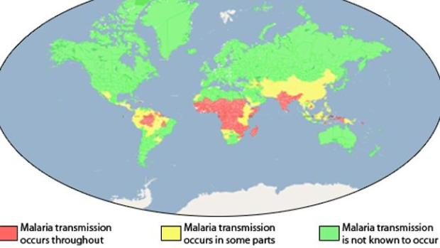 Malaria distribution. Picture: Centers for Disease Control and Prevention, US