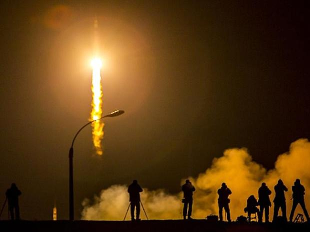 The Soyuz TMA-16M spacecraft is seen as it launches to the International Space Station ca