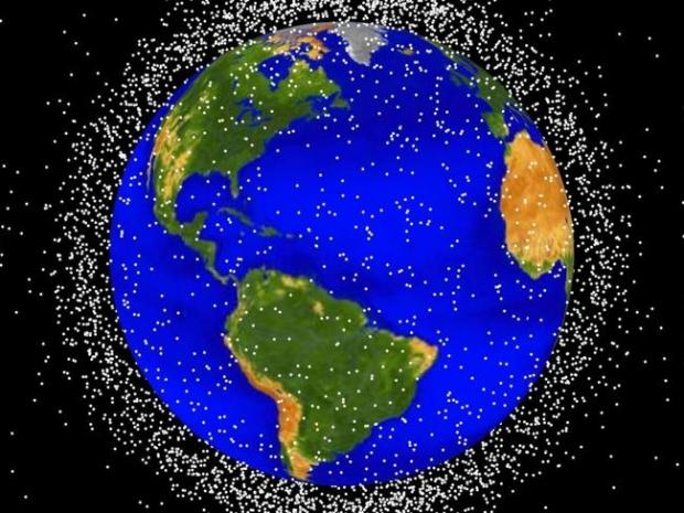 A graphic from NASA shows the amount of space debris floating around the Earth.