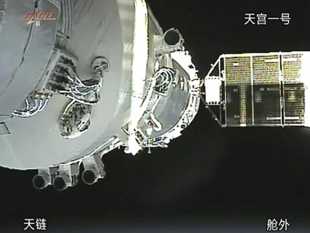The docking of the Shenzhou 8 craft with already orbiting Tiangong 1 module in November 2
