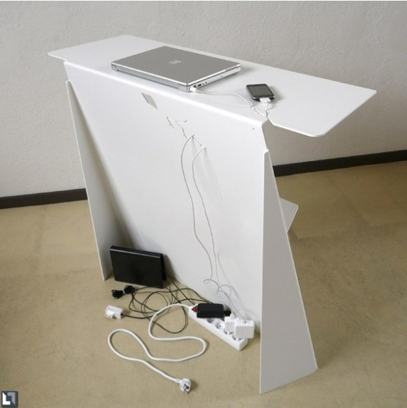 Minimalist Desk With Hidden Cables Look From Rear | casaresidence com