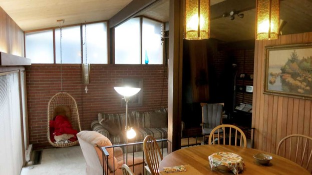 View from dining area to living room with clerestory windows