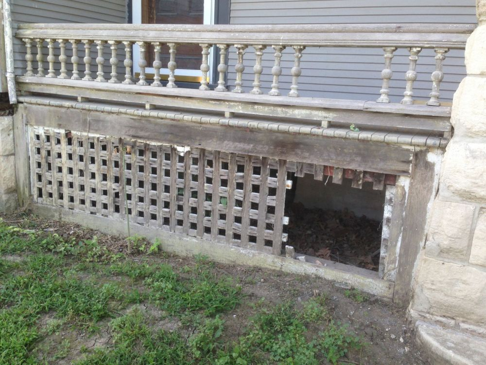 This sad sight is the lower portion of the north porch. Pretty pitiful, right? I agree, but I am also thrilled that these pitiful bits remain, for they are invaluable templates.