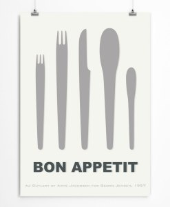 Cutlery by Arne Jacobsen white print