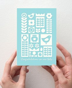 New baby card blue