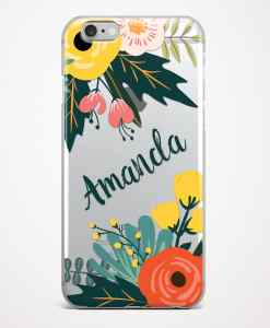 bouquet phone case transparent gray