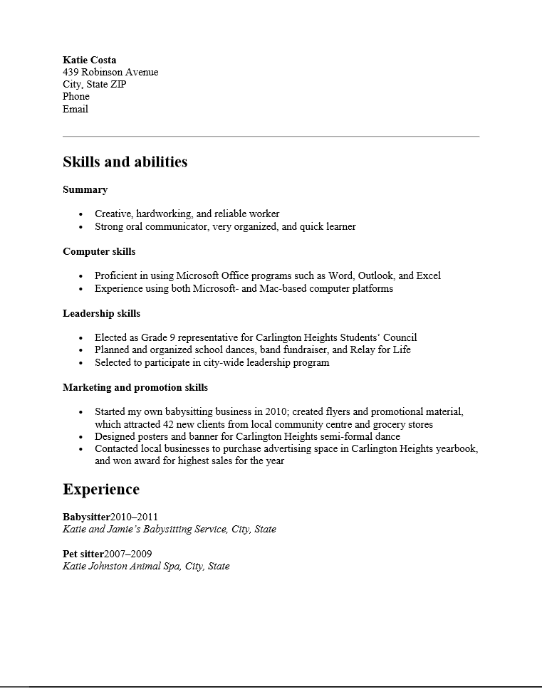 sample resume for high school students