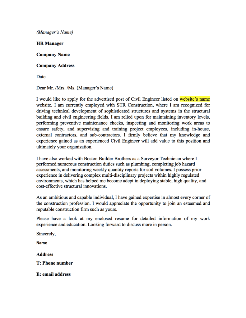 civil engineering internship cover letter samples