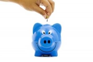 blue smiling piggy bank by vichaya kiatying-angsulee
