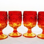 Set of 4 LE Smith Moon and Star Goblets. Circa 1940's - 1960's.