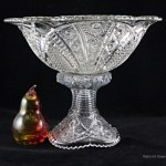 Well preserved vintage glass punch bowl and stand in the Concord pattern by McKee Glass, USA.