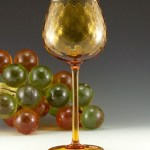 Oversize Italian glass wine goblet with diamond optic decor produced in the 1950's-1960's by Empoli.
