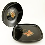Pair of vintage Couroc inlaid wood and brass butterfly dishes.